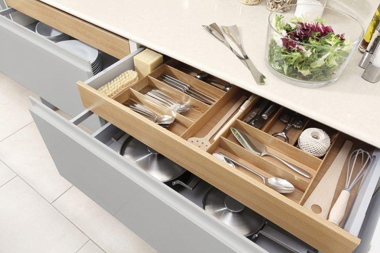 Oak Cutlery Drawers -Doug Farleigh Kitchens