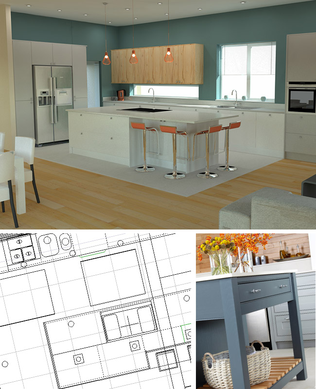 Kitchens designs shown in 2D & 3D visuals