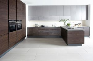 Modern Handleless Kitchen - Walnut - Doug Farleigh Kitchens