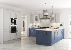 Burbidge Marlow light grey and old navy - Doug Farleigh Kitchens