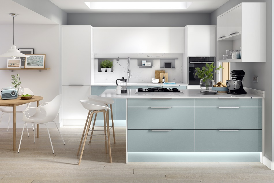 modern Kitchen design, white and blue - Doug Farleigh Kitchens